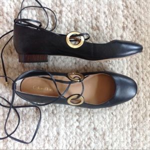 $140 Calvin Klein black leather lace-up FLATS work